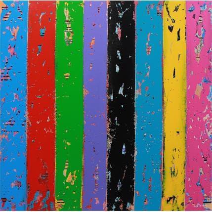 Carole Becam Bandes colorées 1 80 x 80 cm