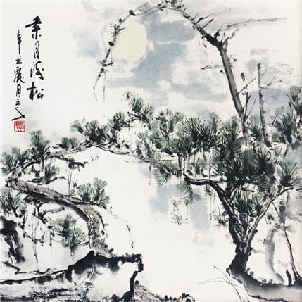 San Qian Pine needles and the moon 25 x 25 cm