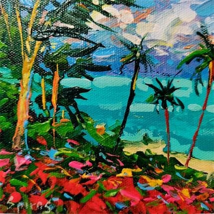 Dmitry Spiros Palm trees on the shore 13 x 13 cm