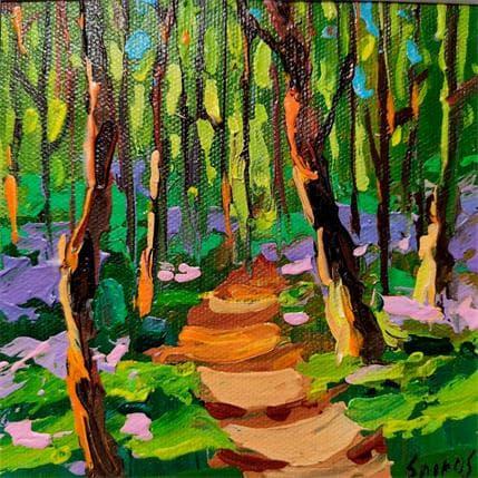Dmitry Spiros Forest at evening  13 x 13 cm