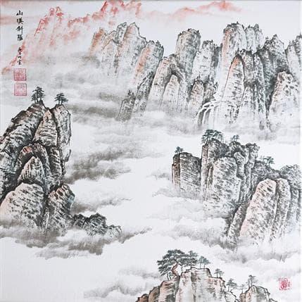 Du Mingxuan Sunset and boundless mountains 50 x 50 cm